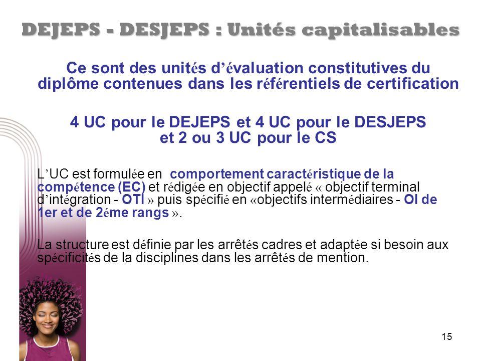 DEJEPS - DESJEPS : Unités capitalisables