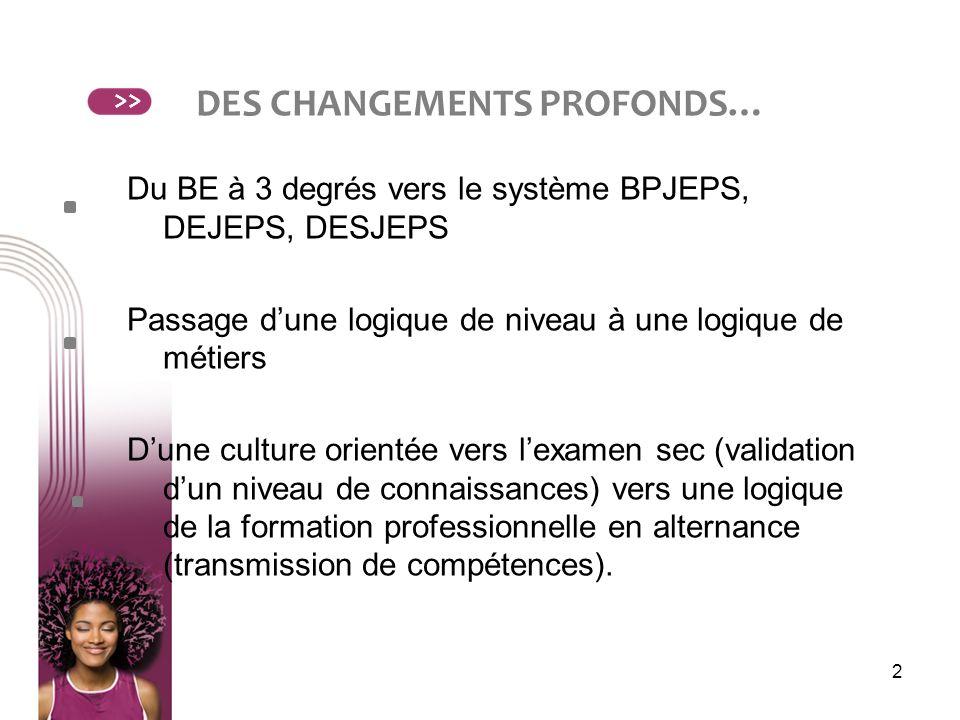 DES CHANGEMENTS PROFONDS…