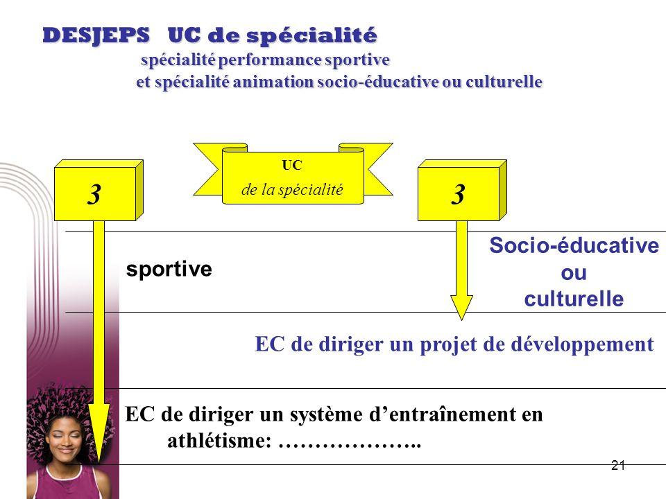 3 3 DESJEPS UC de spécialité Socio-éducative ou sportive culturelle