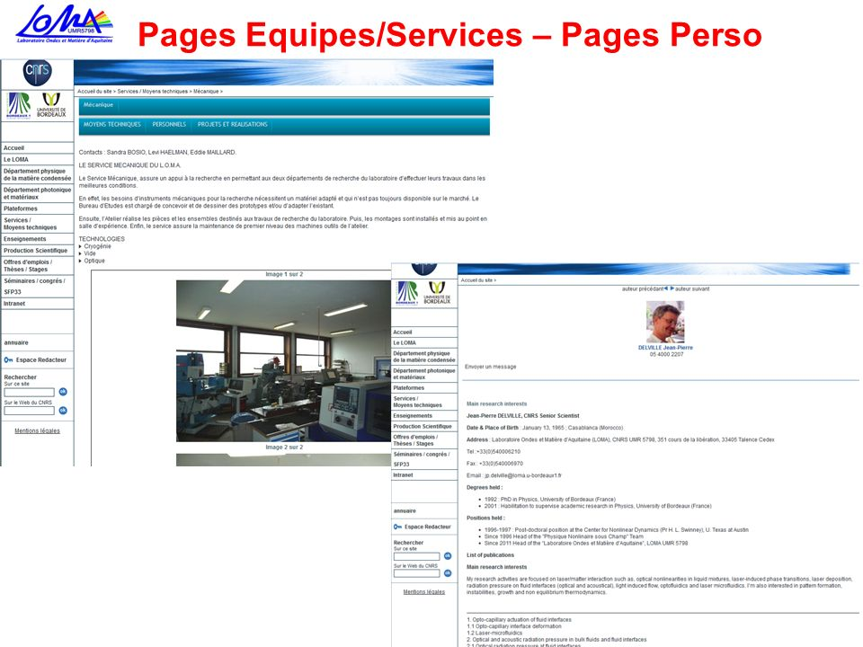 Pages Equipes/Services – Pages Perso