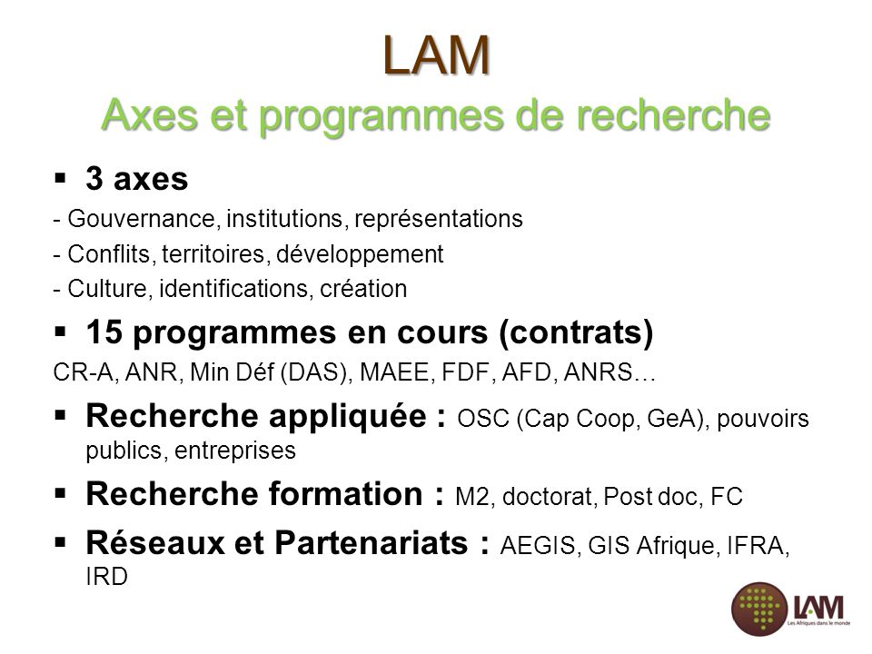 LAM Axes et programmes de recherche