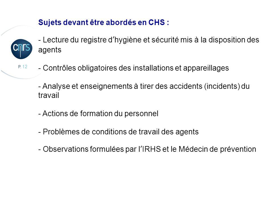 Sujets devant être abordés en CHS :