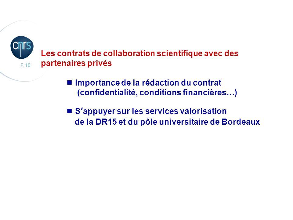 Les contrats de collaboration scientifique avec des partenaires privés