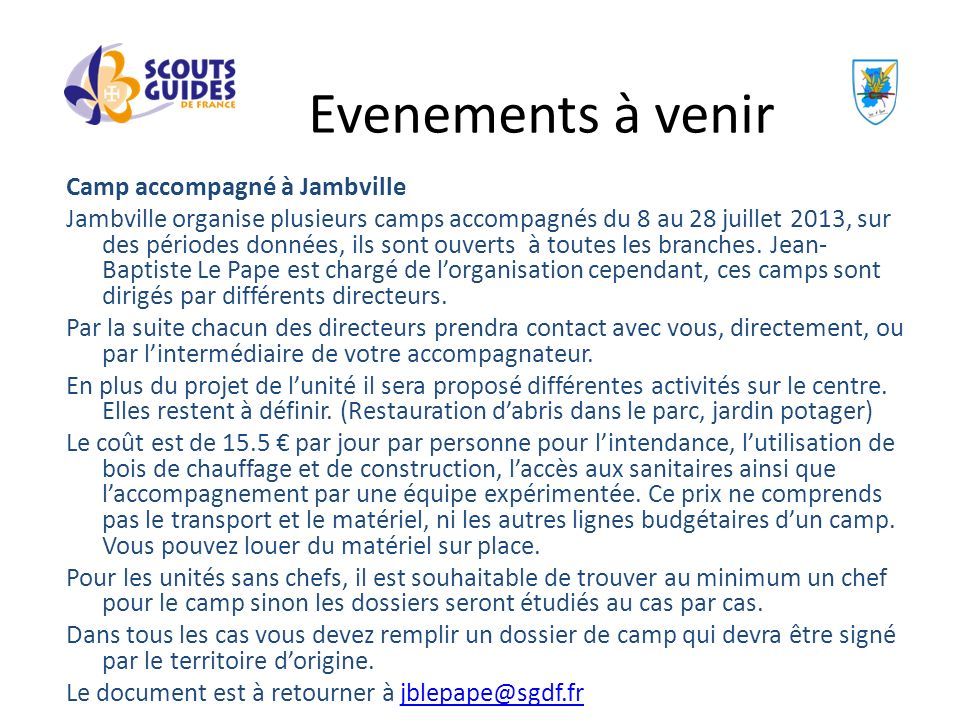 Evenements à venir Camp accompagné à Jambville