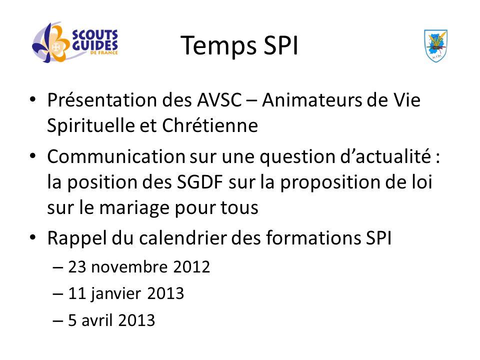 Temps SPI Présentation des AVSC – Animateurs de Vie Spirituelle et Chrétienne.