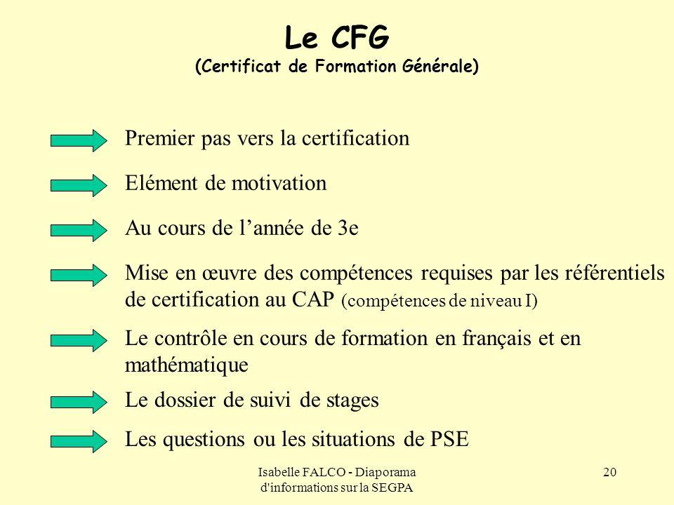 Le CFG (Certificat de Formation Générale)