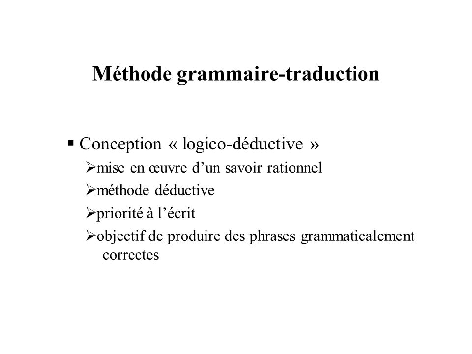 Méthode grammaire-traduction