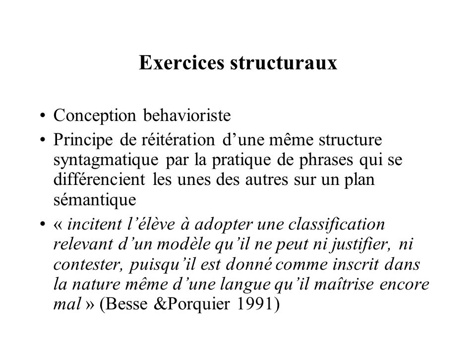 Exercices structuraux