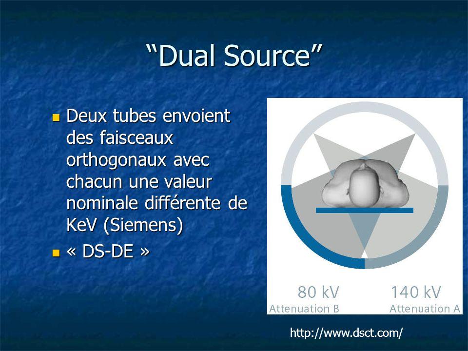 Dual Source Deux tubes envoient des faisceaux orthogonaux avec chacun une valeur nominale différente de KeV (Siemens)