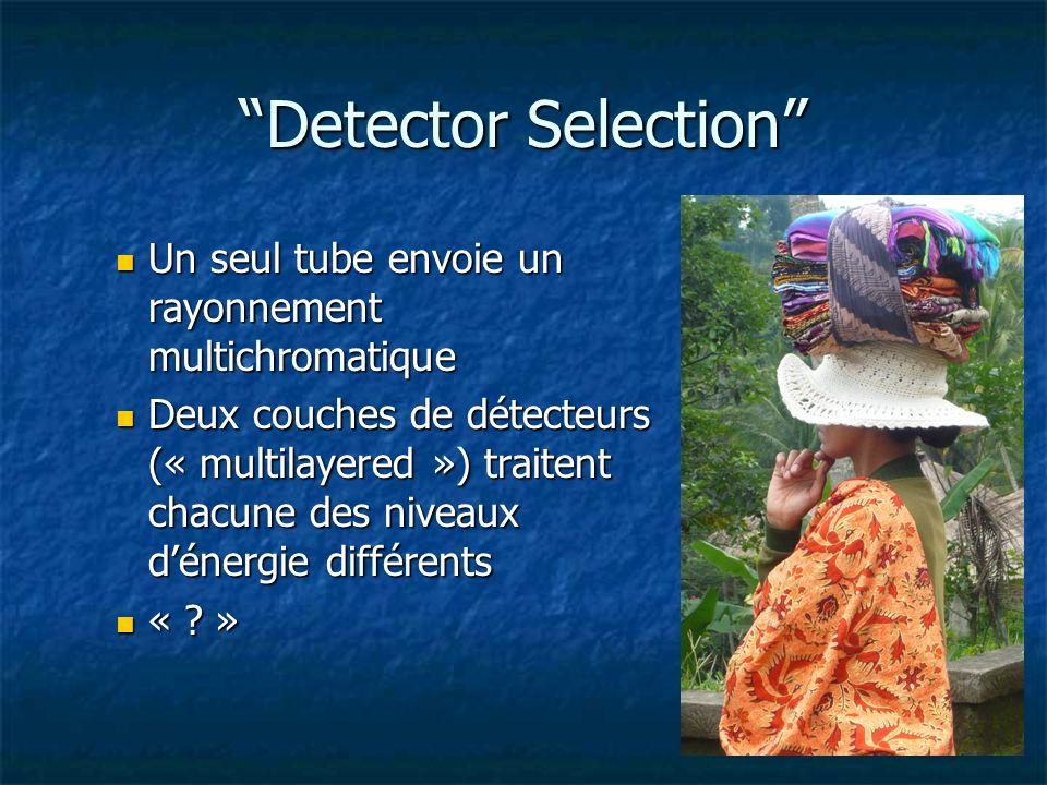 Detector Selection Un seul tube envoie un rayonnement multichromatique.