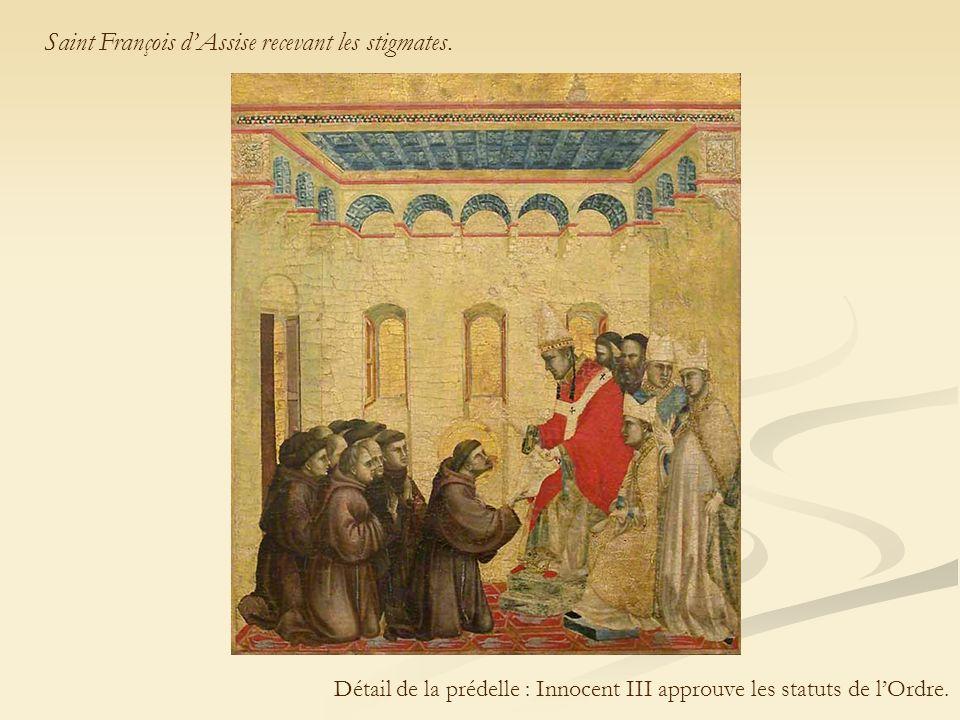 Détail de la prédelle : Innocent III approuve les statuts de l'Ordre.
