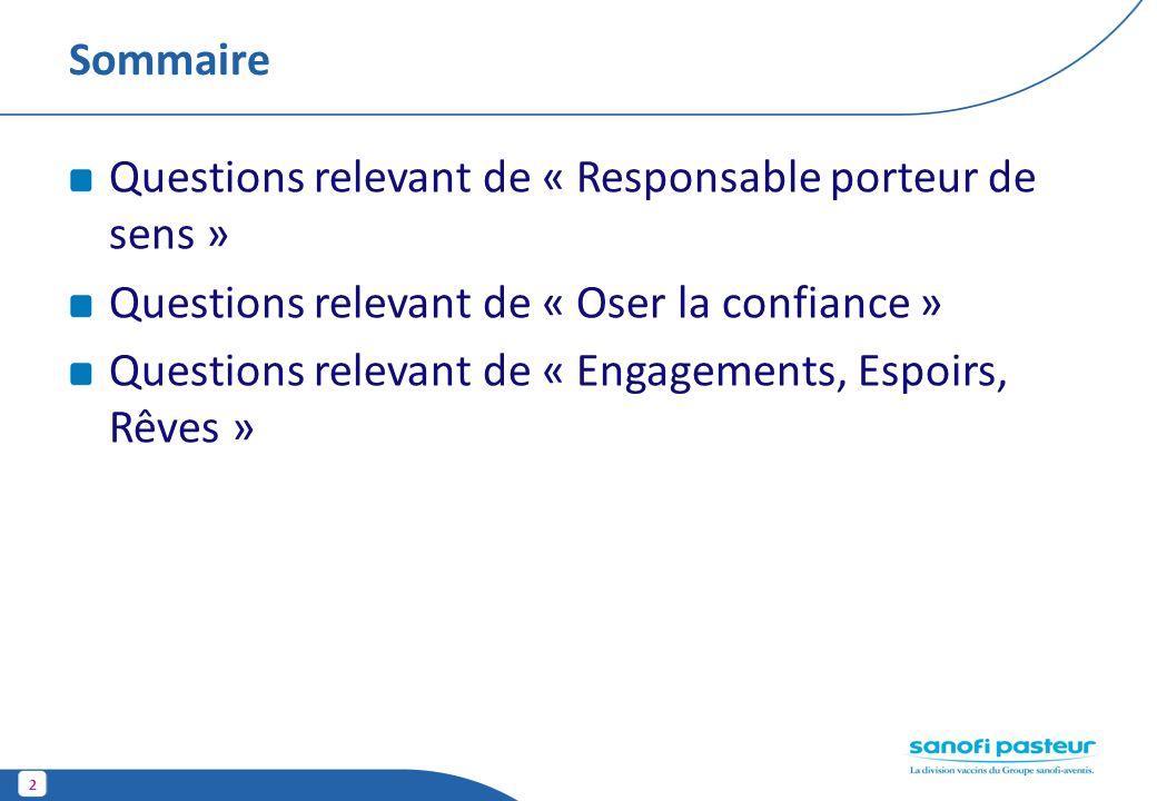 Sommaire Questions relevant de « Responsable porteur de sens » Questions relevant de « Oser la confiance »