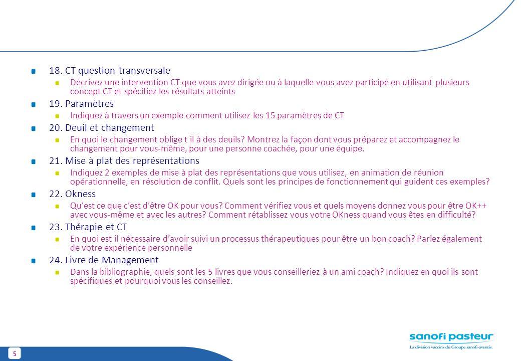 18. CT question transversale 19. Paramètres 20. Deuil et changement