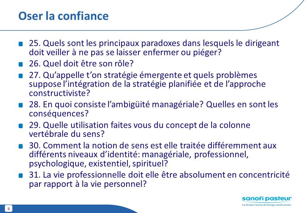Oser la confiance 25. Quels sont les principaux paradoxes dans lesquels le dirigeant doit veiller à ne pas se laisser enfermer ou piéger