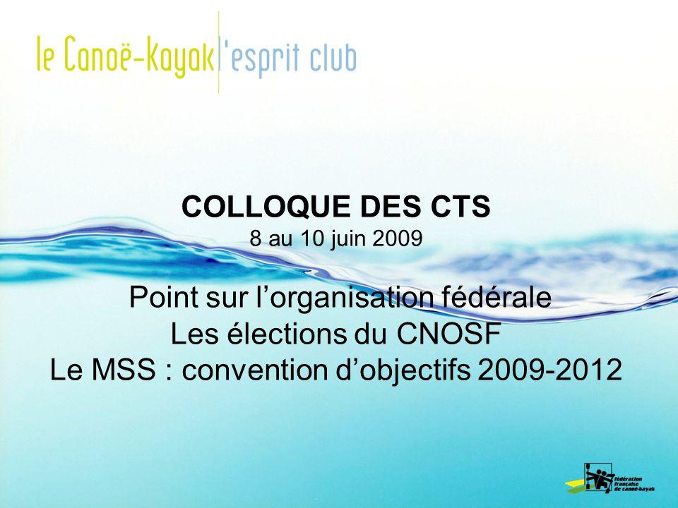 Point sur l'organisation fédérale Les élections du CNOSF