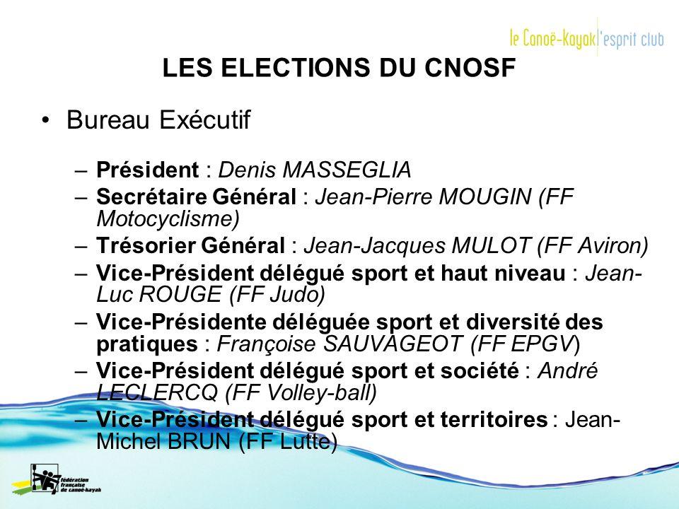 LES ELECTIONS DU CNOSF Bureau Exécutif Président : Denis MASSEGLIA