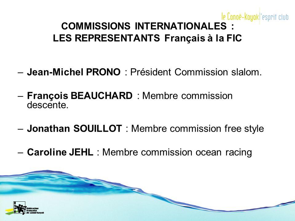 COMMISSIONS INTERNATIONALES : LES REPRESENTANTS Français à la FIC