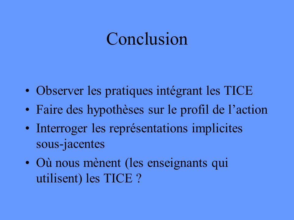 Conclusion Observer les pratiques intégrant les TICE