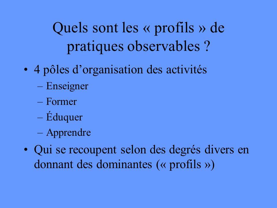 Quels sont les « profils » de pratiques observables