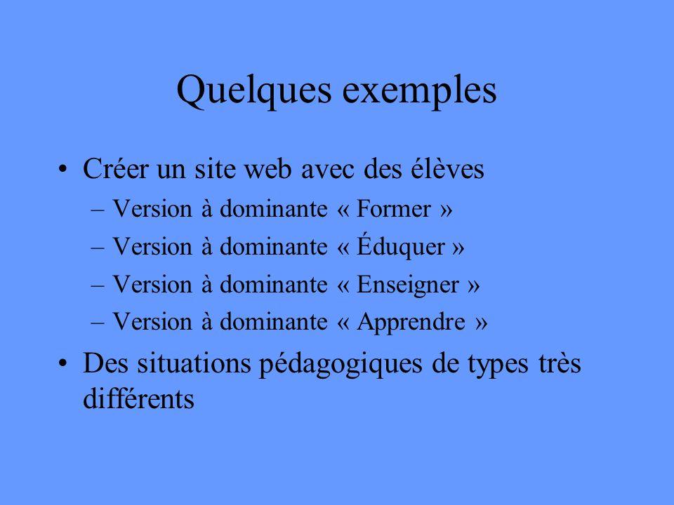 Quelques exemples Créer un site web avec des élèves