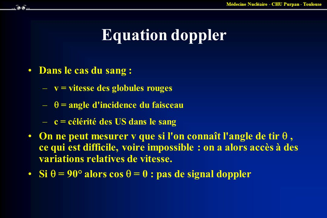 Equation doppler Dans le cas du sang :