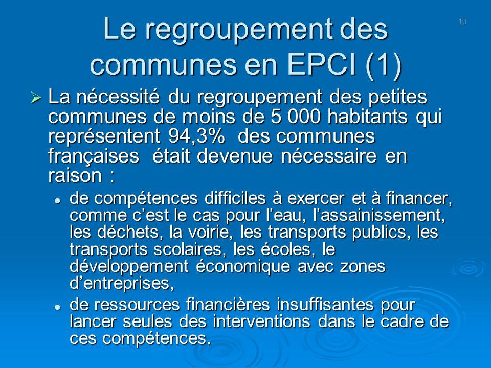 Le regroupement des communes en EPCI (1)