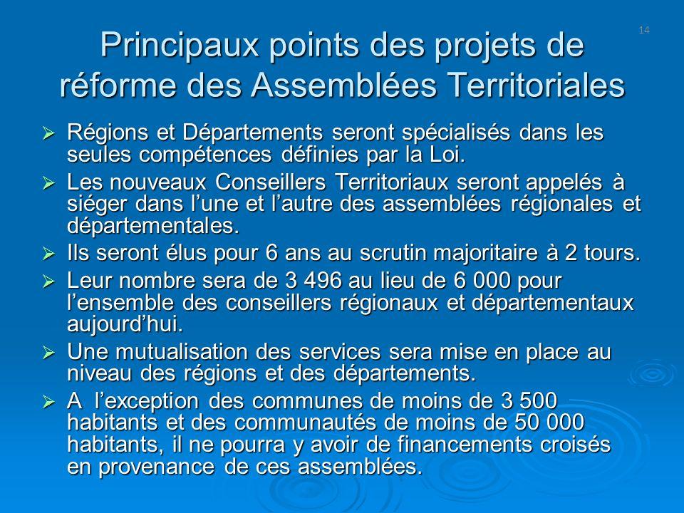 Principaux points des projets de réforme des Assemblées Territoriales