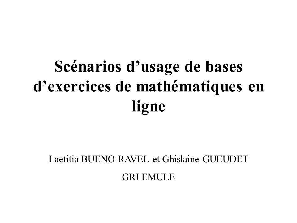 Scénarios d'usage de bases d'exercices de mathématiques en ligne