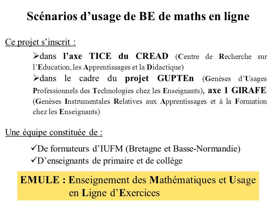 Scénarios d'usage de BE de maths en ligne