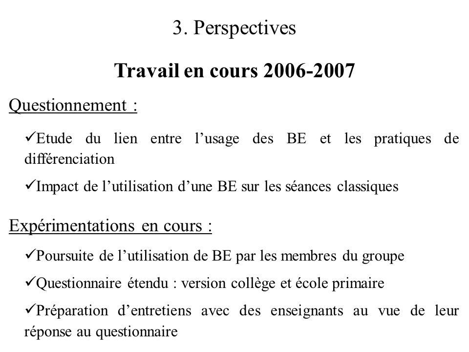 3. Perspectives Travail en cours 2006-2007 Questionnement :
