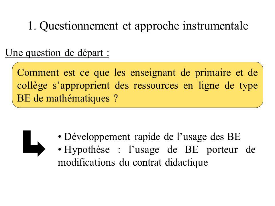 1. Questionnement et approche instrumentale