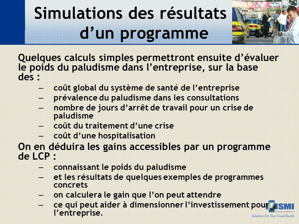 Simulations des résultats d'un programme