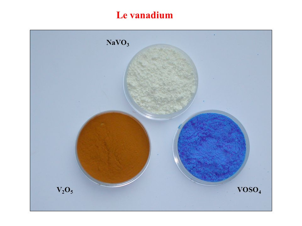 Le vanadium NaVO3 V2O5 VOSO4