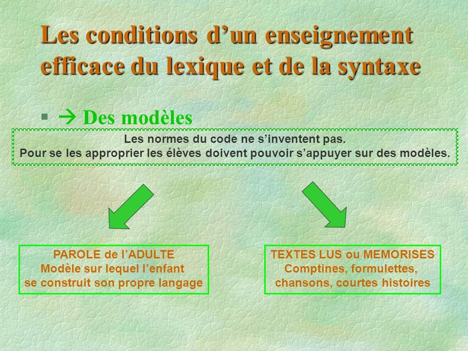 Les conditions d'un enseignement efficace du lexique et de la syntaxe