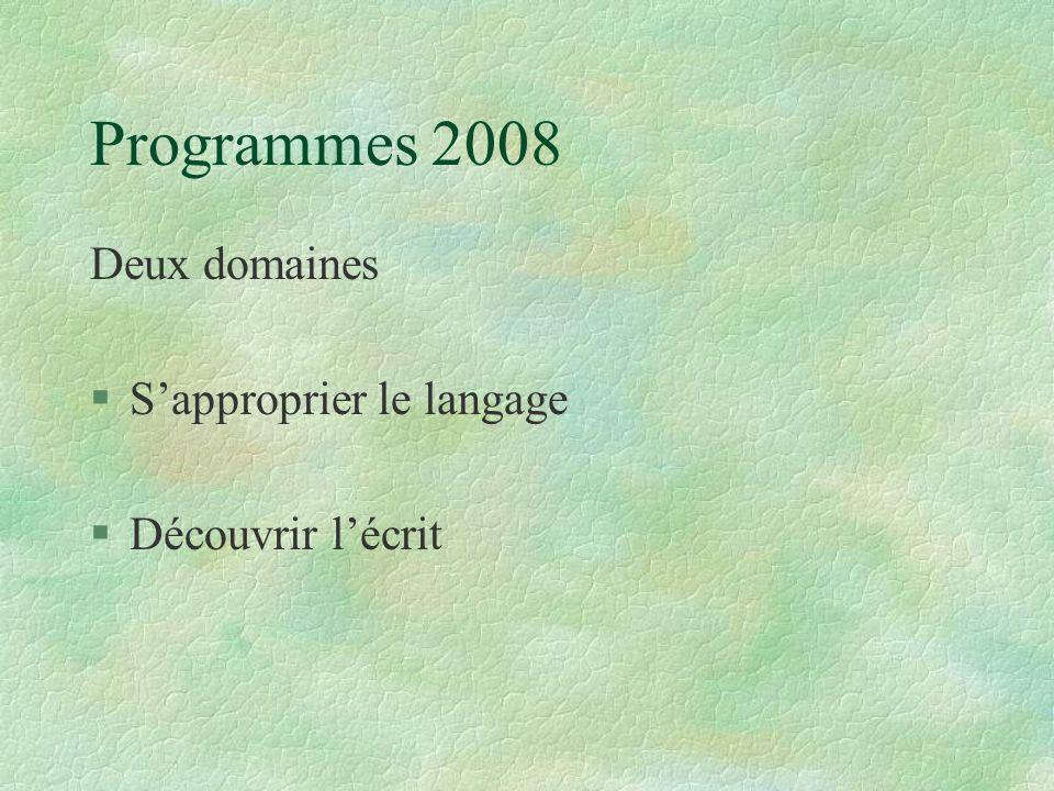 Programmes 2008 Deux domaines S'approprier le langage