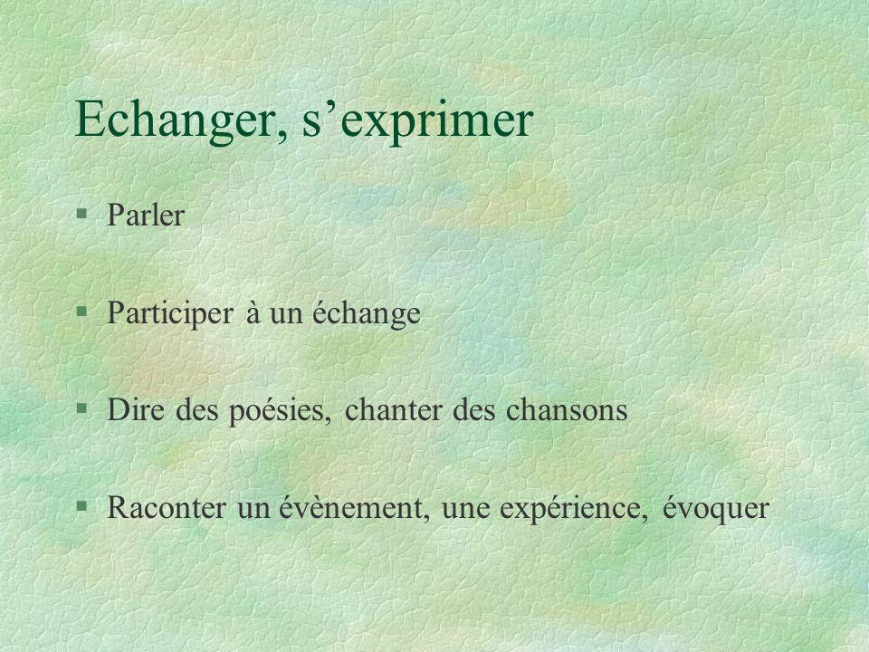 Echanger, s'exprimer Parler Participer à un échange