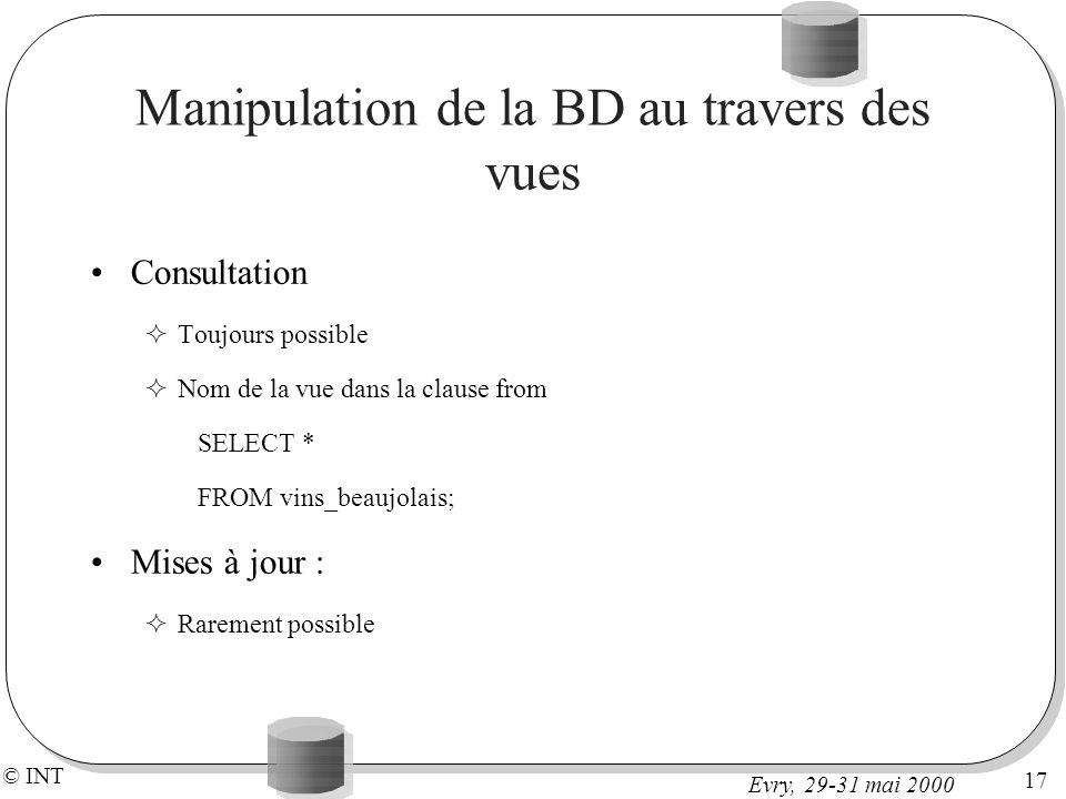 Manipulation de la BD au travers des vues