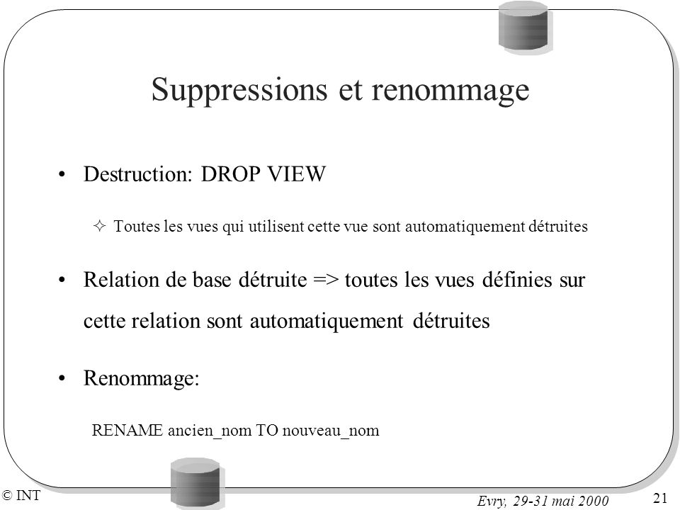 Suppressions et renommage