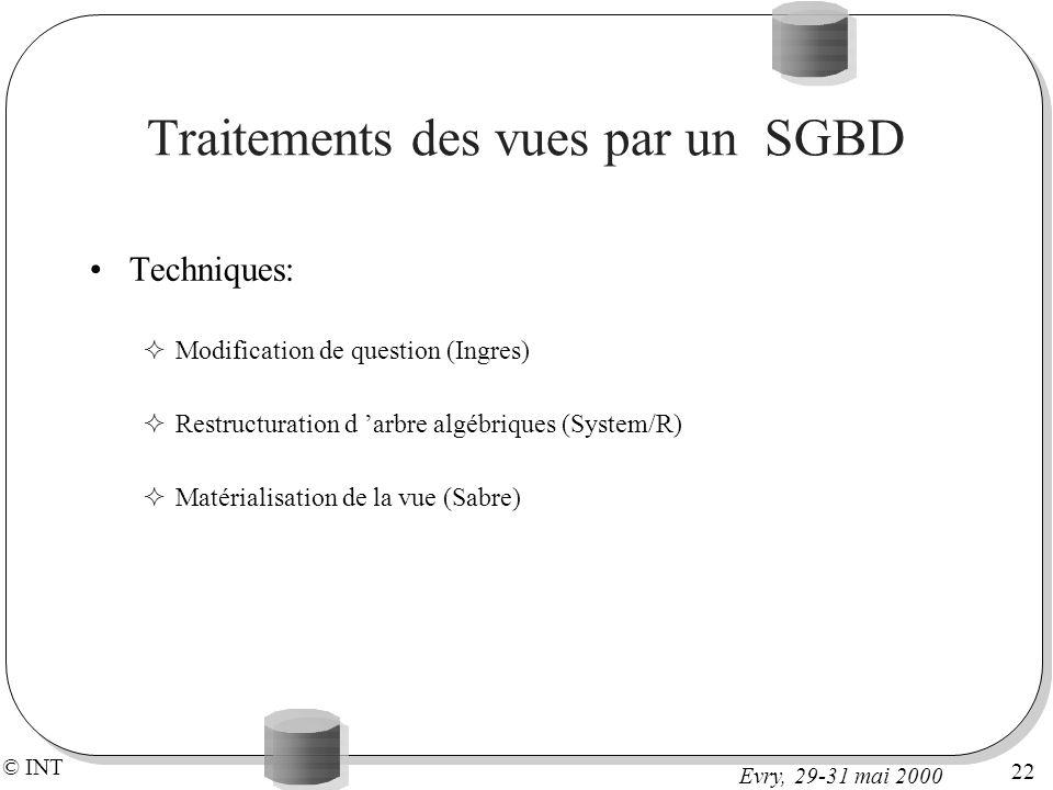 Traitements des vues par un SGBD