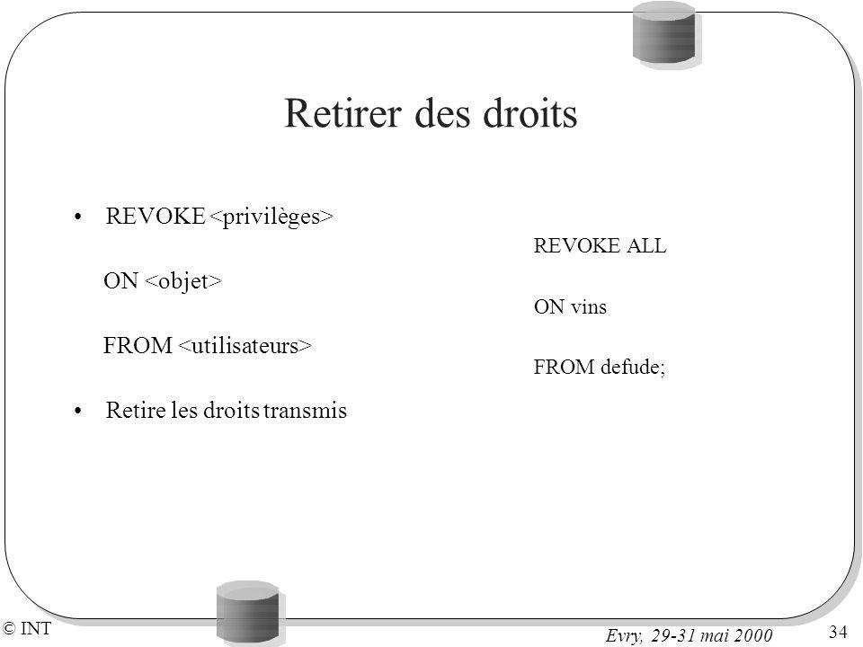 Retirer des droits REVOKE <privilèges> ON <objet>