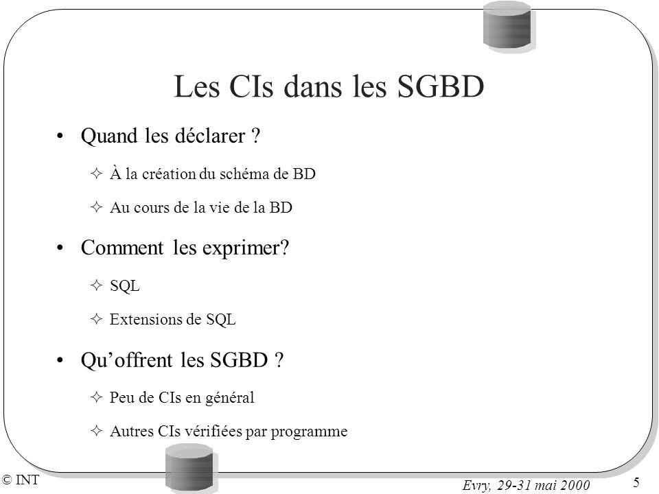 Les CIs dans les SGBD Quand les déclarer Comment les exprimer