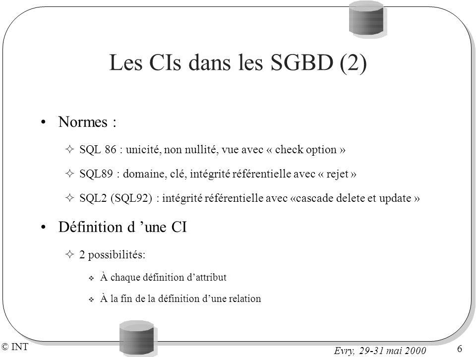 Les CIs dans les SGBD (2) Normes : Définition d 'une CI