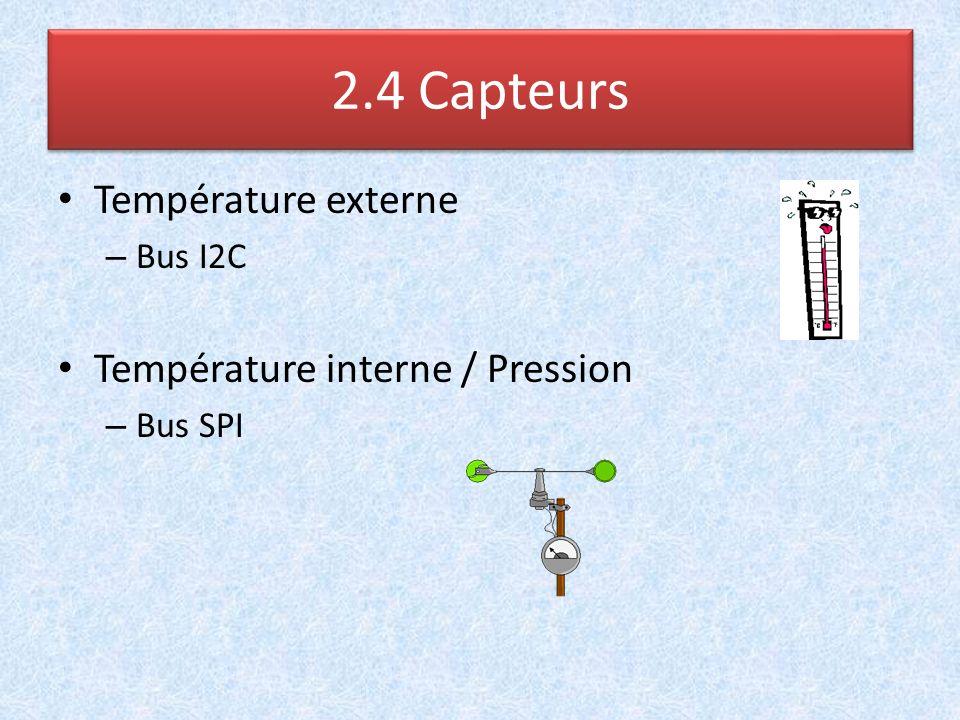 2.4 Capteurs Température externe Température interne / Pression