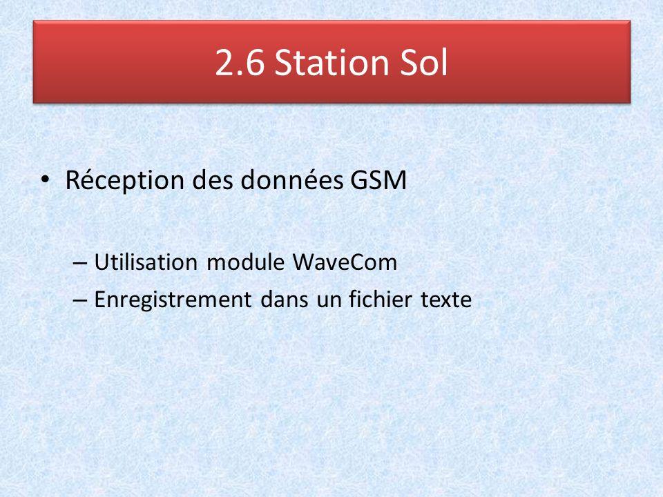 2.6 Station Sol Réception des données GSM Utilisation module WaveCom