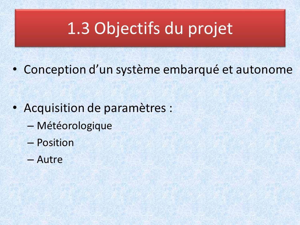 1.3 Objectifs du projet Conception d'un système embarqué et autonome