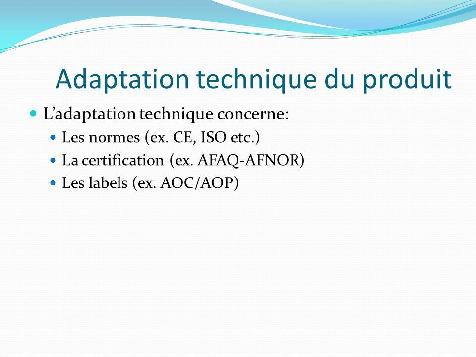 Adaptation technique du produit