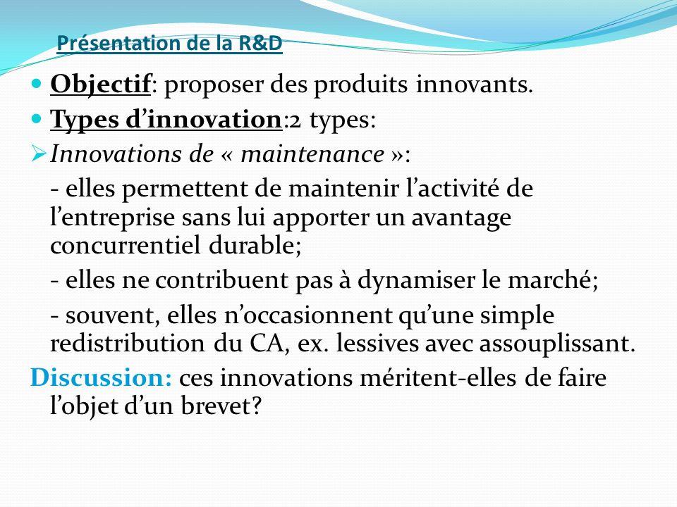 Objectif: proposer des produits innovants. Types d'innovation:2 types: