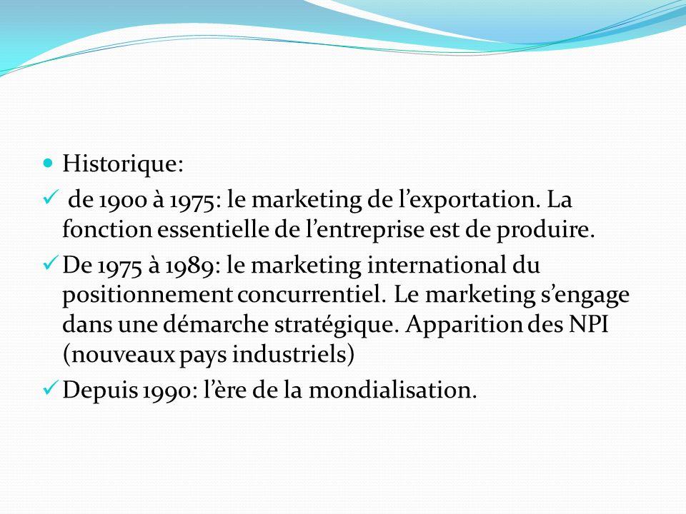 Historique:de 1900 à 1975: le marketing de l'exportation. La fonction essentielle de l'entreprise est de produire.