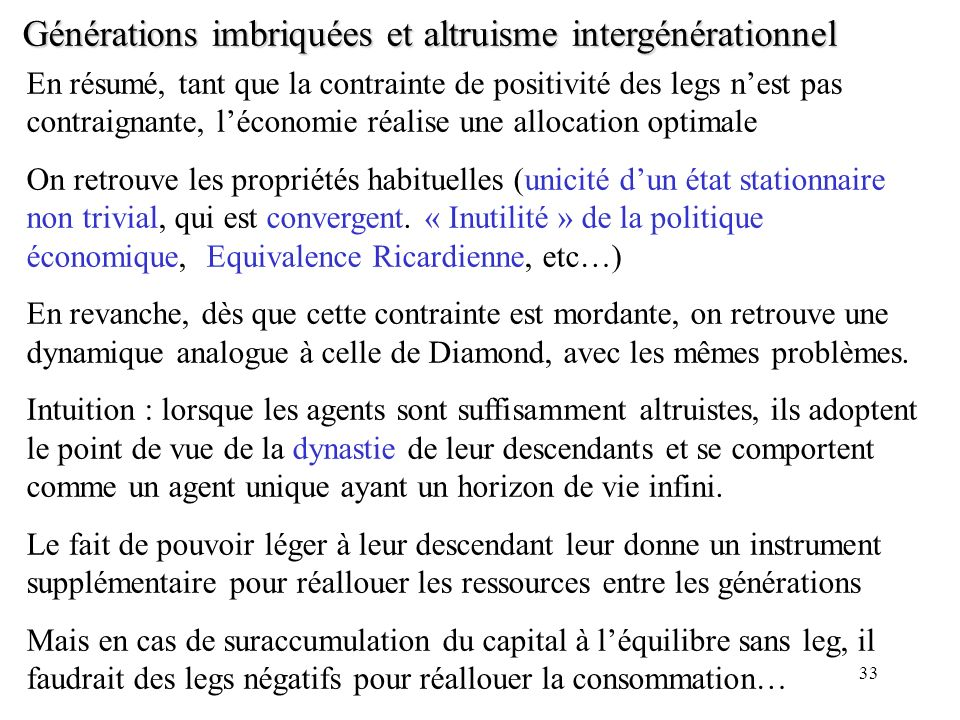 Générations imbriquées et altruisme intergénérationnel
