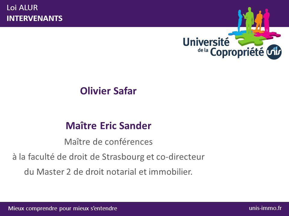 Olivier Safar Maître Eric Sander